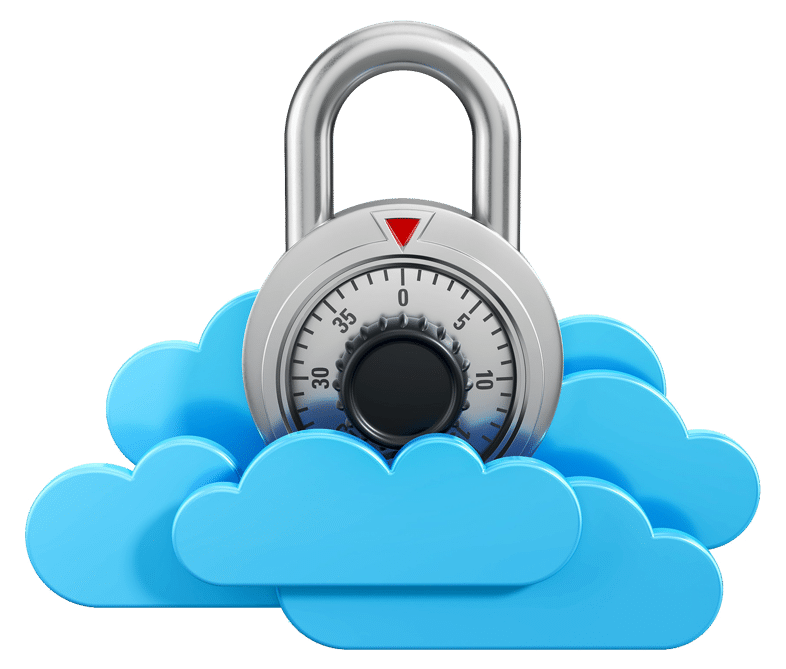 Graphic of small lock sitting in the clouds depicting Cloud Security