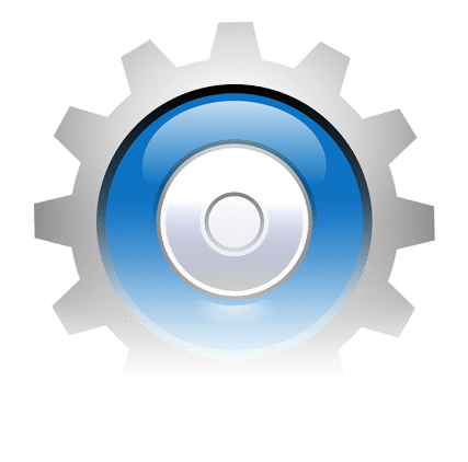 Graphic depicting computer gear icon