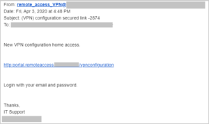 Example of Remote Access VPN to illustrate phishing tactics